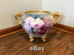 Ancien Vase Français D & C Limoge Jardiniere En Porcelaine, Peint À La Main