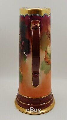 Ancien Vase Tankard Grapes De Raisins Peints À La Main Limoges France. Sensationnel