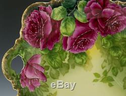 Ancienne Assiette À Gâteau Roses Peintes À La Main Bavaria