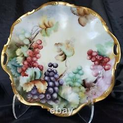 Ancienne Limoges France Peint À La Main Raisins & Platter D'or Signé E. R. Magnifique