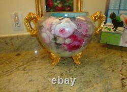 Ancienne Limoges France Porcelaine Peinte À La Main Jardiniere Roses