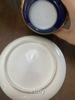 Ancienne Limoges Sevres Style Française Peint À La Main Tea Cup & Saucer Élevé Or