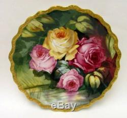 Ancienne Plaque Chargeur Gravée Roses De Limoges Peinte À La Main Signée 1905