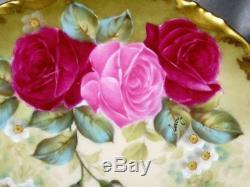 Ancienne Plaque De Cabinet Roses Peintes À La Main De Limoges Et Signées Leroy Doré