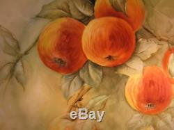 Ancienne Plaque De Pommes De Limoges Peinte À La Main. Par L'artiste F. A. Hallowell