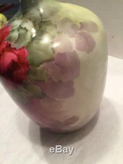 Années 1800, Paul Putzki Signé Jp L Vase En Verre Peint À La Main En Porcelaine De Limoges