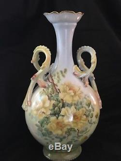 Antique 13 Vase Limoges 1898 Poignées Fantaisie Roses Jaunes Peintes À La Main 1898