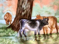 Antique 15 Peinte À La Main Limoges Vaches Peinture Sur Porcelaine Plateau, Signée Braunciser