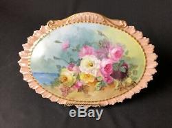 Antique (1880 Ca.) Limoges Main Roses Peintes Par Un Lac Et 13 Signed De 1/2 Plaque