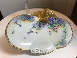 Antique 1901 Guerin Limoges France Bavière Handled Plateau Peint À La Main Florale D'or