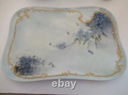 Antique 7pc Limoges Peint À La Main Vanity Dresser Oubliez-moi Nots Signé & Vers 1908