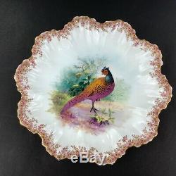 Antique A. Limoges Lanternier Neuf (9) Or Garniture Aux Oiseaux Peints À La Main Plaques