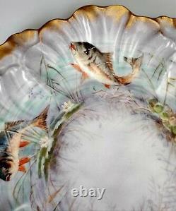 Antique Ak & Co. Français Limoges Peinture À La Main Porcelaine 9 Fish Plate