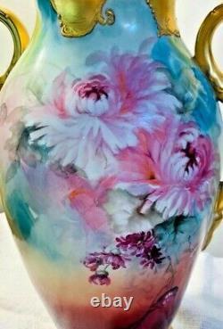 Antique Art Nouveau Peint À La Main 13 Or Vase Illustrateurs Pivoines Floral