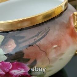 Antique B & C France Limoges Handpainted Roses & Or Jardiniere Vase Planter