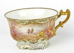 Antique Btd Limoges Porcelaine Verte Tasse Petite Assiette Gaufrée Gilded Painted Bird Main