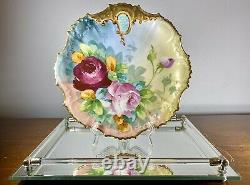Antique C1890 B & H Limoges France Plaque Cabinet Peinte À La Main Roses Lourd Gilt 9