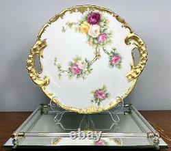 Antique C1896 T & V Limoges France Plaque Gâteau Peinte À La Main Roses Lourd Gilt 11,25