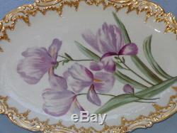 Antique Coiffe Porcelaine De Limoges Grande Double Or Platter Iris Peint À La Main