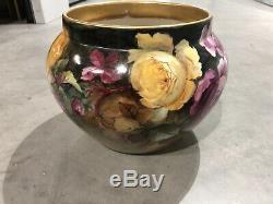 Antique D & C Limoges France Handpainted Roses & Or Jardiniere Vase Planter
