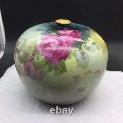 Antique Elite Limoges Grande Main Peinte Vase Roses