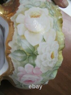 Antique Elite Limoges Or Incrusté À La Main Centre Peint À Pied Bol 10,5 Roses