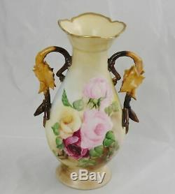 Antique Elite Limoges Peinte À La Main Vase Rose Avec Feuilles Poignées 10-1 / 4 France