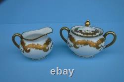 Antique Flambeau Limoges Individuel Teapot Lourd Or Peint À La Main Creamer Sucre