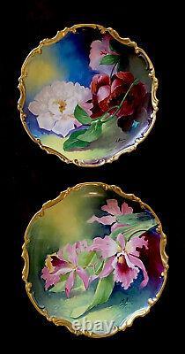 Antique Français Limoges Peinte À La Main Paire De Plaques En Porcelaine Décoratives Chargeurs