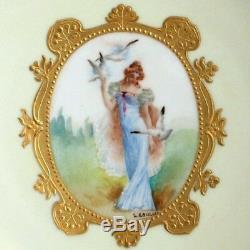 Antique Français Main Cabinet Signe Peint Plaque France Femme W Colombes Oiseaux Lady