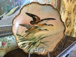 Antique Français Oiseaux Jeu Peint À La Main Limoges Assiette Porcelaine Signée