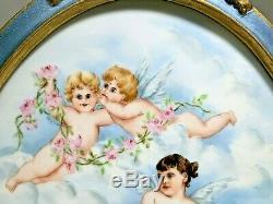 Antique Français Ovale Anges Anges Nuages plaque En Porcelaine Peinte À La Main Peinte À La Main