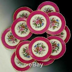 Antique Français Porcelaine De Limoges Peinte À La Main Rose Dessert Plaques Plateau Set D'or