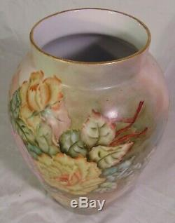 Antique Français Porcelaine De Limoges Peinte En Rose Jaune À La Main Fleurs Vase 12