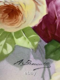 Antique France Limoges Coronet Peint À La Main Plaque Signée Roses & Or 9