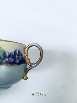 Antique Gda Limoges, France 6 Pièces Service À Thé En Porcelaine Peint À La Main