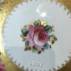 Antique Hammersley Angleterre Handpainted Set 6 Plaques Rose Roses Heavy Doré