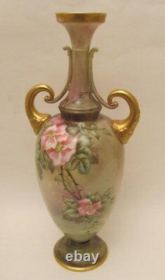 Antique Hand Painted 15.25 Roses Vase Début Des Années 1900