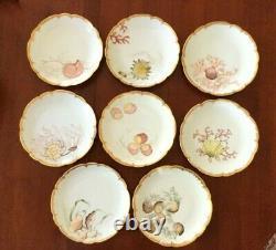 Antique Hand Painted Haviland Limoges Scalloped Shellfish Plates Ensemble De 8