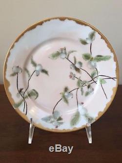 Antique Haviland Limoges Assiettes À Dessert Floral Peintes À La Main, Ensemble De 10