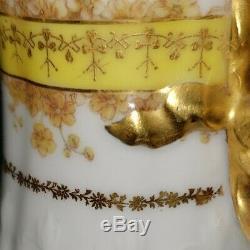Antique Haviland Limoges Cfh Cruche Gdm Fleurs D'or Peint À La Main Et Des Guirlandes