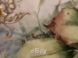 Antique Haviland Limoges Cfh / Gdm Peint À La Main Roses Plateau Platter 14 Longues L @@ K