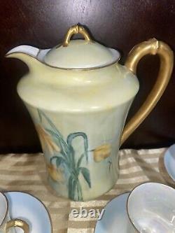 Antique Haviland Limoges Ensemble De Thé Au Café Au Chocolat, 6 Tasses 7 Assiettes Peintes À La Main