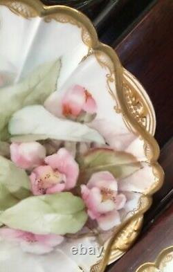 Antique Haviland Limoges Rose Fleur 4 Plaques D'armoire 9 Bords D'or Peints À La Main