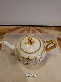 Antique J P L France Limoges Peinte À La Main D'or Gilt Teapot