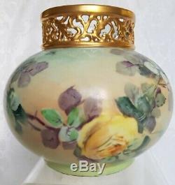 Antique J. P. L. Limoges France Peint À La Main Roses Vase D'or Incrustées Superbe