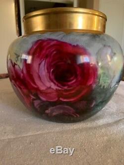 Antique Jardiniere Vase Roses Decores Signé Thomas Jorgensen, Californie