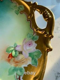 Antique Jean Pouyat J. P. L. France Limoges Peint À La Main Plateau Gâteau Rose Signé