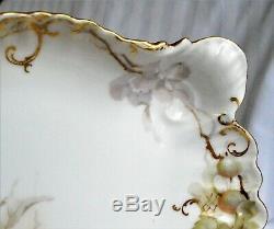 Antique Jean Pouyat Limoges Floral Peint À La Main Dresser Vanity Plateau Groseilles