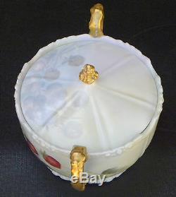 Antique Jean Pouyat Limoges France Cracker Jar Peinte À La Main Et Illustrateurs
